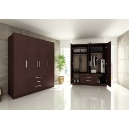 Trasman Grande 4 Door 3 Drawer Wardrobe - Dark Mahogany