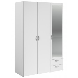 Parisot Daily 3 Door 2 Drawer Mirrored Wardrobe - White