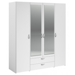 Parisot Daily 4 Door 2 Drawer Mirrored Wardrobe - White