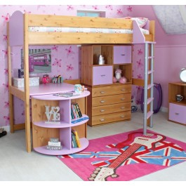 Kids Avenue Noah Highsleeper Antique Lilac with Extending Desk