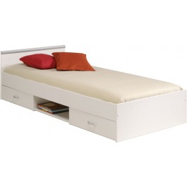 Parisot Alpha Single Bed With 2 Drawers in megeve white