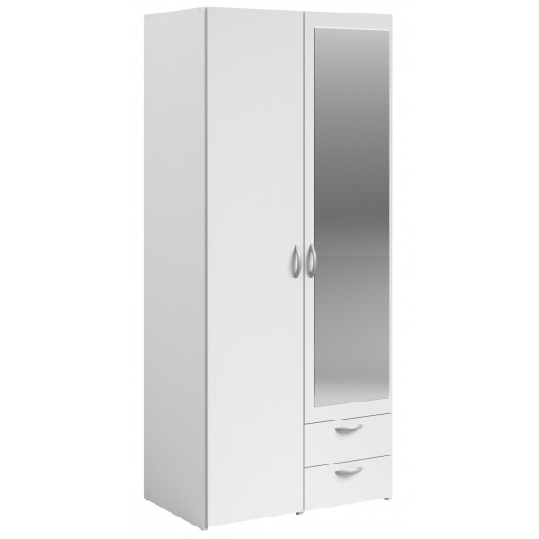 Parisot Daily 2 Door 2 Drawer Mirrored Wardrobe - White