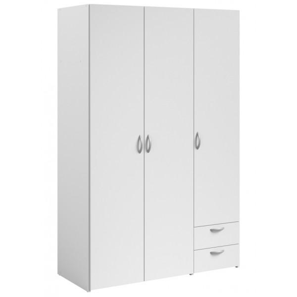 Parisot Daily 3 Door 2 Drawer Wardrobe - White