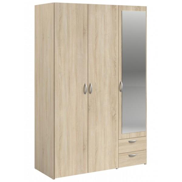Parisot Daily 3 Door 2 Drawer Mirrored Wardrobe - Sonoma Oak