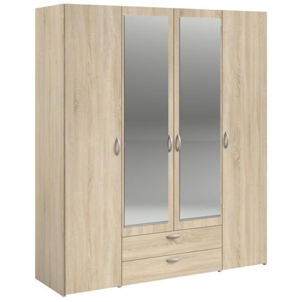 Parisot Daily 4 Door 2 Drawer Mirrored Wardrobe - Sonoma Oak