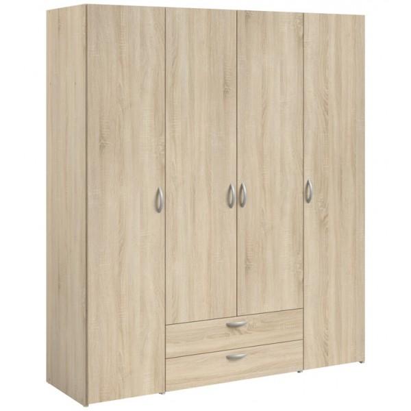 Parisot Daily 4 Door 2 Drawer Wardrobe - Sonoma Oak