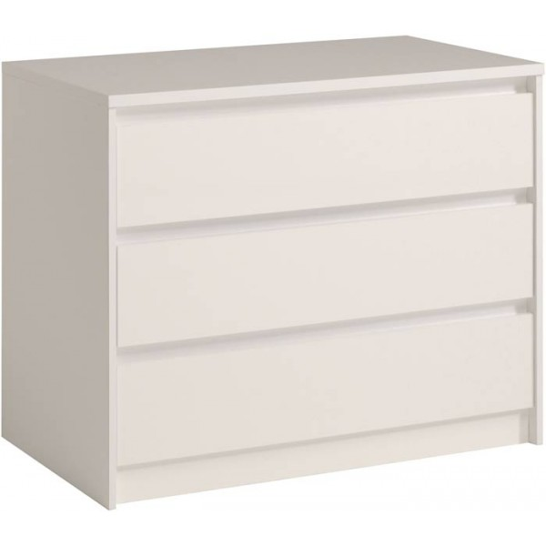 Parisot Ontario white chest of 3 drawers