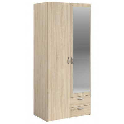 Parisot Daily 2 Door 2 Drawer Mirrored Wardrobe - Sonoma Oak